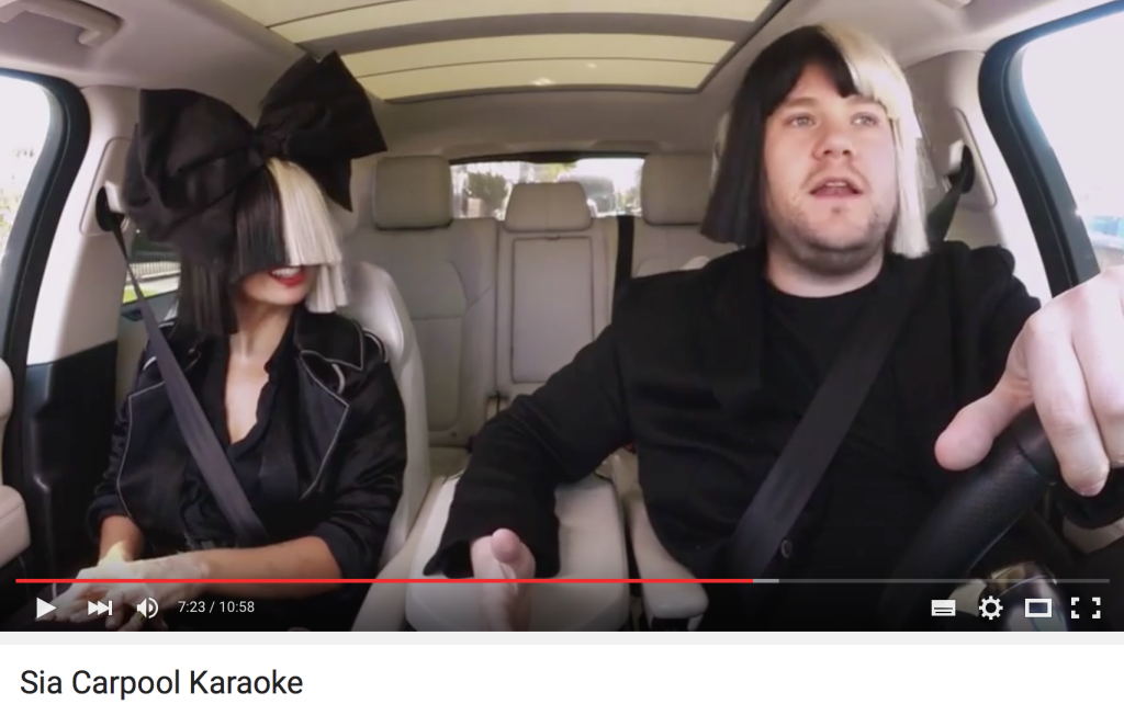 Sia beim carpool karaoke mit james corden burning music for Car pool karaoke show