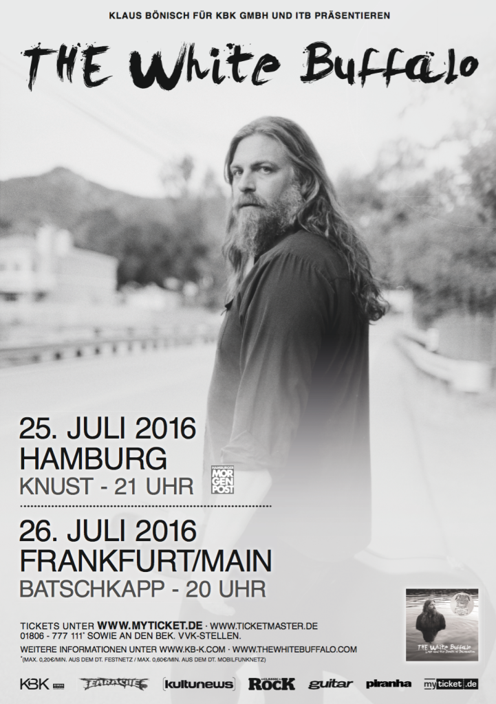 White Buffalo Tour Poster Tickets Deutschland Germany